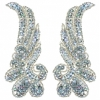 Motif Sequin/beads 11cmx4.5cm Wing Shape 2Pc Silver Hologram
